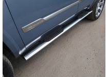 Пороги овальные с накладкой 120х60 мм для Cadillac Escalade (2015-)