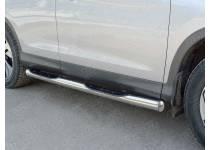Пороги труба d76 с накладкой (вариант 3) для Honda CRV (2015-)
