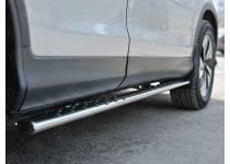 Пороги труба 75х42 овал с проступью для Honda CRV (2015-)