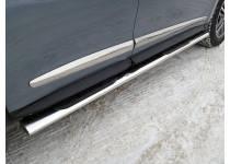 Пороги овальные с накладкой 120х60 мм для Infiniti QX60 (2016-)