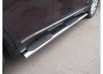 Пороги овальные с накладкой 120х60 мм для Infiniti QX70 (2015-)