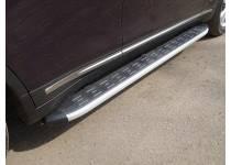 Пороги алюминиевые с пластиковой накладкой 1820 мм для Infiniti QX70 (2015-)
