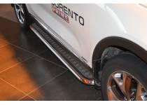 Пороги с накладным листом d53 для Kia Sorento Prime (2015-)