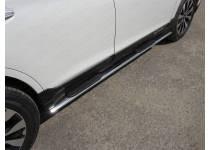 Пороги овальные с накладкой 75х42 мм для Subaru Outback (2015-)