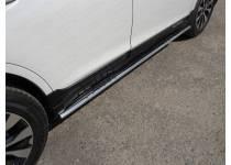 Пороги овальные с проступью 75х42 мм для Subaru Outback (2015-)