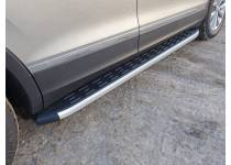 Пороги алюминиевые с пластиковой накладкой 1820 мм для Volkswagen Tiguan (2017-)