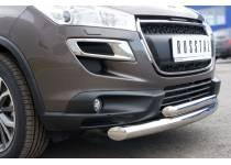 Защита переднего бампера двойная d76/42 для Peugeot 4007 (2007-2012)