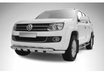 Защита переднего бампера двойная d76/57 с защитой картера для Volkswagen Amarok (2010-2015)