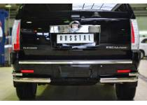 Защита заднего бампера уголки D76(секции) D42 (секции) для Cadillac Escalade (2007-2015)