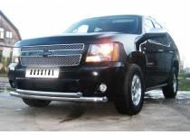 Защита переднего бампера двойная d76/76 для Chevrolet Tahoe (2008-2012)
