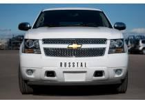 Защита переднего бампера овальная d75/42 для Chevrolet Tahoe (2012-2015)