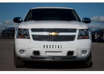 Защита переднего бампера двойная d76/63 для Chevrolet Tahoe (2012-2015)