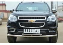 Защита переднего бампера двойная d63/42 для Chevrolet Trailblazer (2012-)