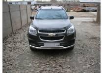Защита переднего бампера двойная d60/42 для Chevrolet Trailblazer (2012-)