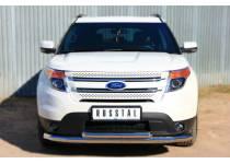 Защита переднего бампера двойная d76/63 для Ford Explorer (2012-)