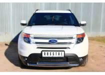 Защита переднего бампера двойная d63/63 для Ford Explorer (2012-)