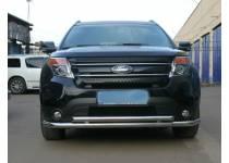 Защита переднего бампера двойная d60/53 для Ford Explorer (2012-)