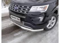 Защита передняя нижняя (овальная длинная с ДХО) 75х42 мм для Ford Explorer (2016-)