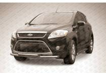 Защита переднего бампера двойная d57/57 для Ford Kuga (2008-2012)