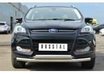 Защита переднего бампера двойная d63/75/42 для Ford Kuga (2013-2015)
