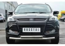 Защита переднего бампера двойная d76/63 для Ford Kuga (2013-2015)