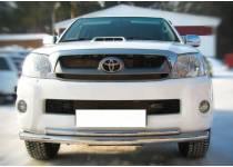Защита переднего бампера двойная d63/42 для Toyota Hilux (2011-2014)