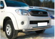 Защита переднего бампера двойная d63/63 для Toyota Hilux (2011-2014)