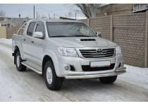 Защита переднего бампера двойная d76/60 для Toyota Hilux (2011-2014)