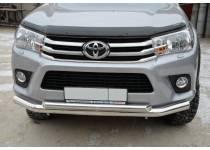 Защита переднего бампера двойная d76/60 для Toyota Hilux Revo (2015-2018)