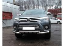 Защита переднего бампера двойная d76 (с накладками) для Toyota Hilux Revo (2015-2018)