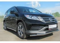 Защита переднего бампера двойная d42/42 для Honda CRV 2.0 (2013-)