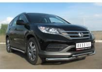 Защита переднего бампера двойная d63/42 для Honda CRV 2.0 (2013-)