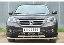 Защита переднего бампера двойная d63/63 для Honda CRV 2.4 (2013-)