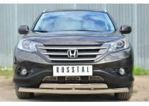 Защита переднего бампера двойная овальная d75/42 для Honda CRV 2.4 (2013-)