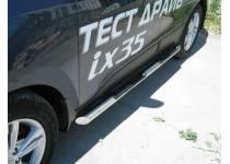 Пороги трубы с накладками d76 для Hyundai IX35 (2009-2015)