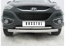 Защита переднего бампера двойная d76/42 для Hyundai IX35 (2009-2015)