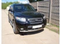 Защита переднего бампера двойная d50/60 для Hyundai Santa Fe (2006-2010)