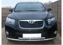 Защита переднего бампера двойная d60/50 для Hyundai Santa Fe (2010-2012)
