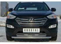 Защита переднего бампера двойная d63/42 для Hyundai Santa Fe (2013-)