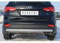 Защита заднего бампера овальная d75/42 для Hyundai Santa Fe (2013-)