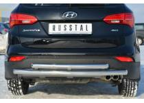 Защита заднего бампера двойная d63/63 для Hyundai Santa Fe (2013-)