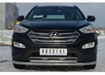 Защита переднего бампера двойная d63/63 для Hyundai Santa Fe (2013-)