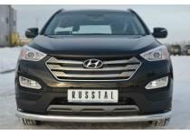 Защита переднего бампера d76 для Hyundai Santa Fe (2013-)