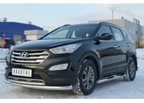 Защита переднего бампера двойная d76/42 для Hyundai Santa Fe (2013-)