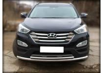 Защита переднего бампера двойная d60/43 для Hyundai Santa Fe (2013-)