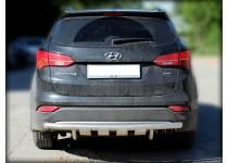 Защита заднего бампера с доп. защитой d60 для Hyundai Santa Fe (2013-)