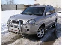 Кенгурятник высокий с защитой картера d57 для Hyundai Tucson (2004-2009)