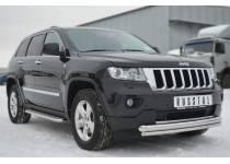 Защита переднего бампера двойная d76/42 для Jeep Grand Cherokee (2011-2013)