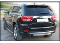 Защита заднего бампера двойная овал d76/40 для Jeep Grand Cherokee (2011-2013)