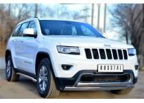 Защита переднего бампера двойная овальная d75/42 для Jeep Grand Cherokee (2014-)